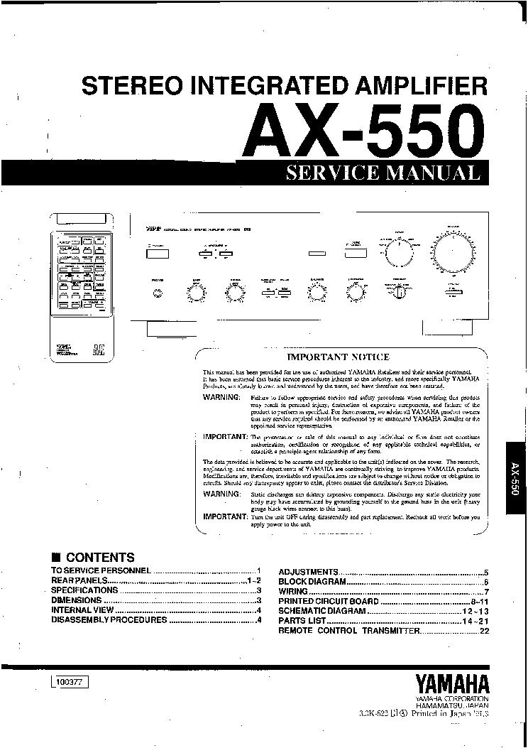 Yamaha ax-550 manuals.