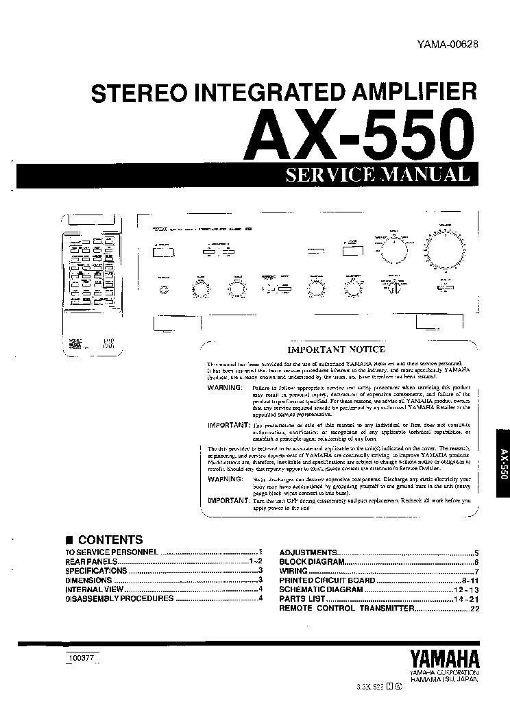 Yamaha rx-550 service manual pdf download.