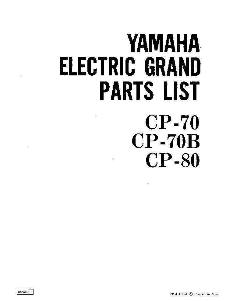 yamaha cp 70 cp 70b cp 80 parts list service manual download rh elektrotanya com yamaha cp 80 service manual Vintage Yamaha Keyboard