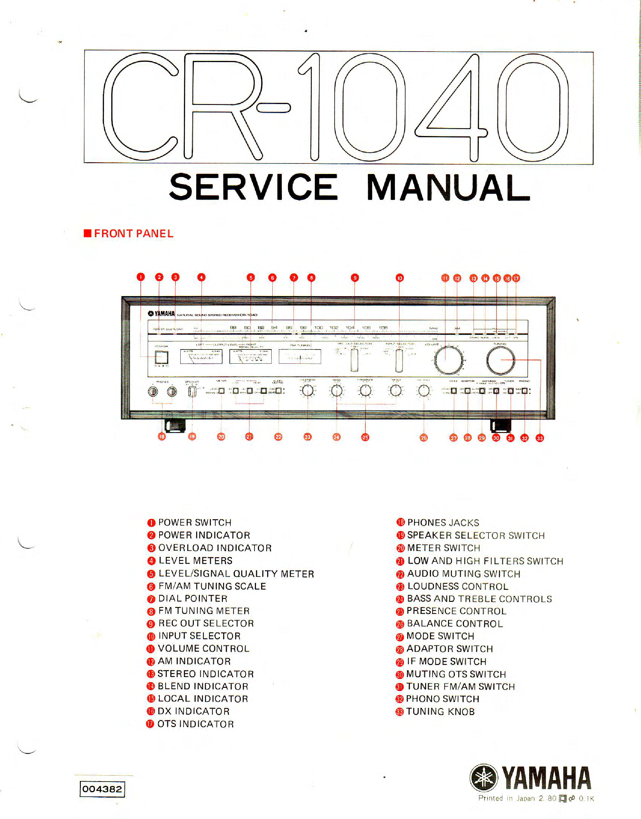 YAMAHA CR-1040 service manual