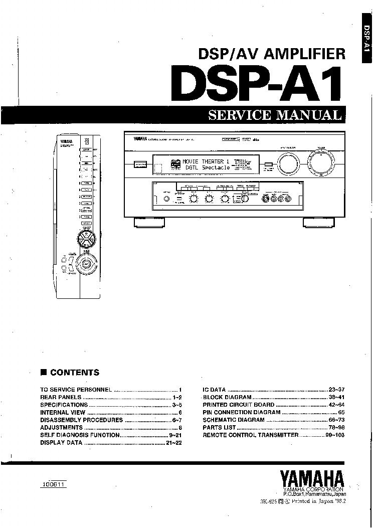 yamaha dsp a1 sm service manual download schematics eeprom repair rh elektrotanya com yamaha ysp-1 service manual yamaha waveblaster 1 service manual