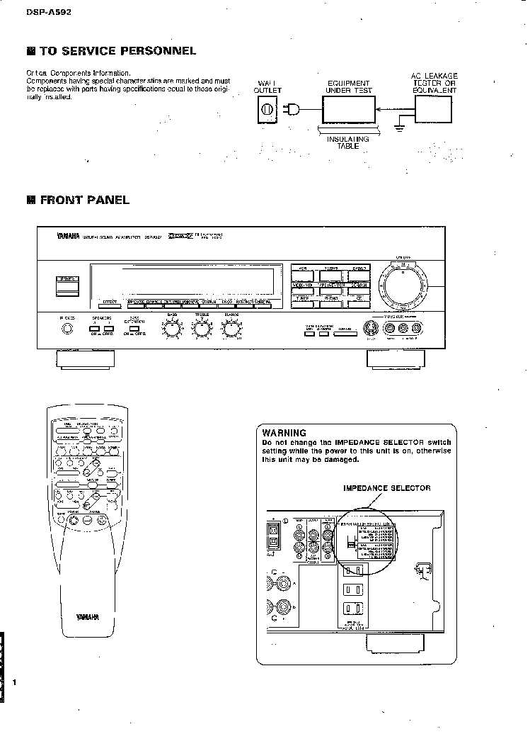YAMAHA DSP-A592 SM service manual (2nd page)