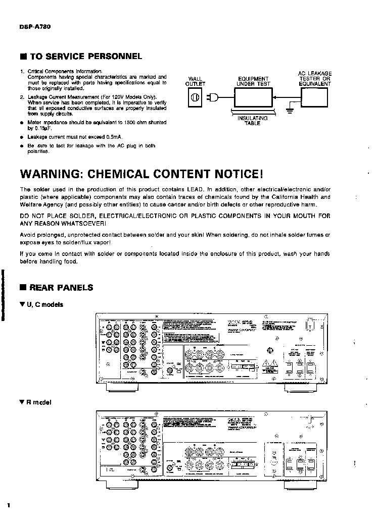 YAMAHA DSP-A780 AV AMPLIFIER service manual (2nd page)