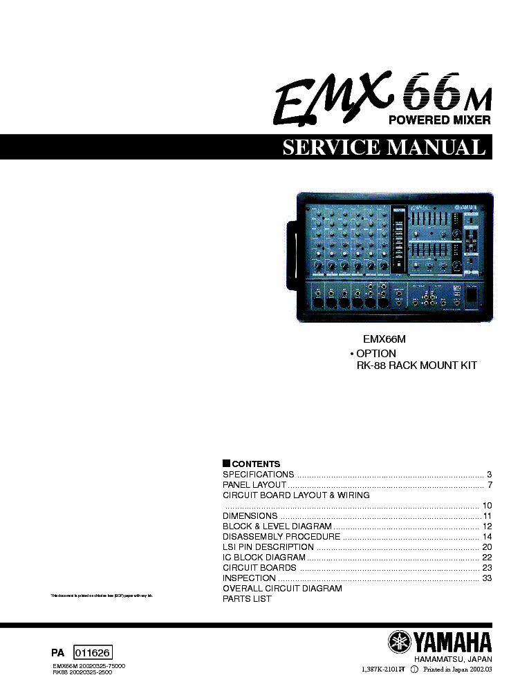 Yamaha Emx Service Manual