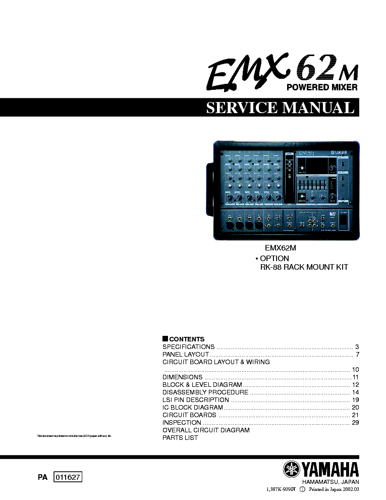YAMAHA CA-400 SCH Service Manual free download, schematics, eeprom ...