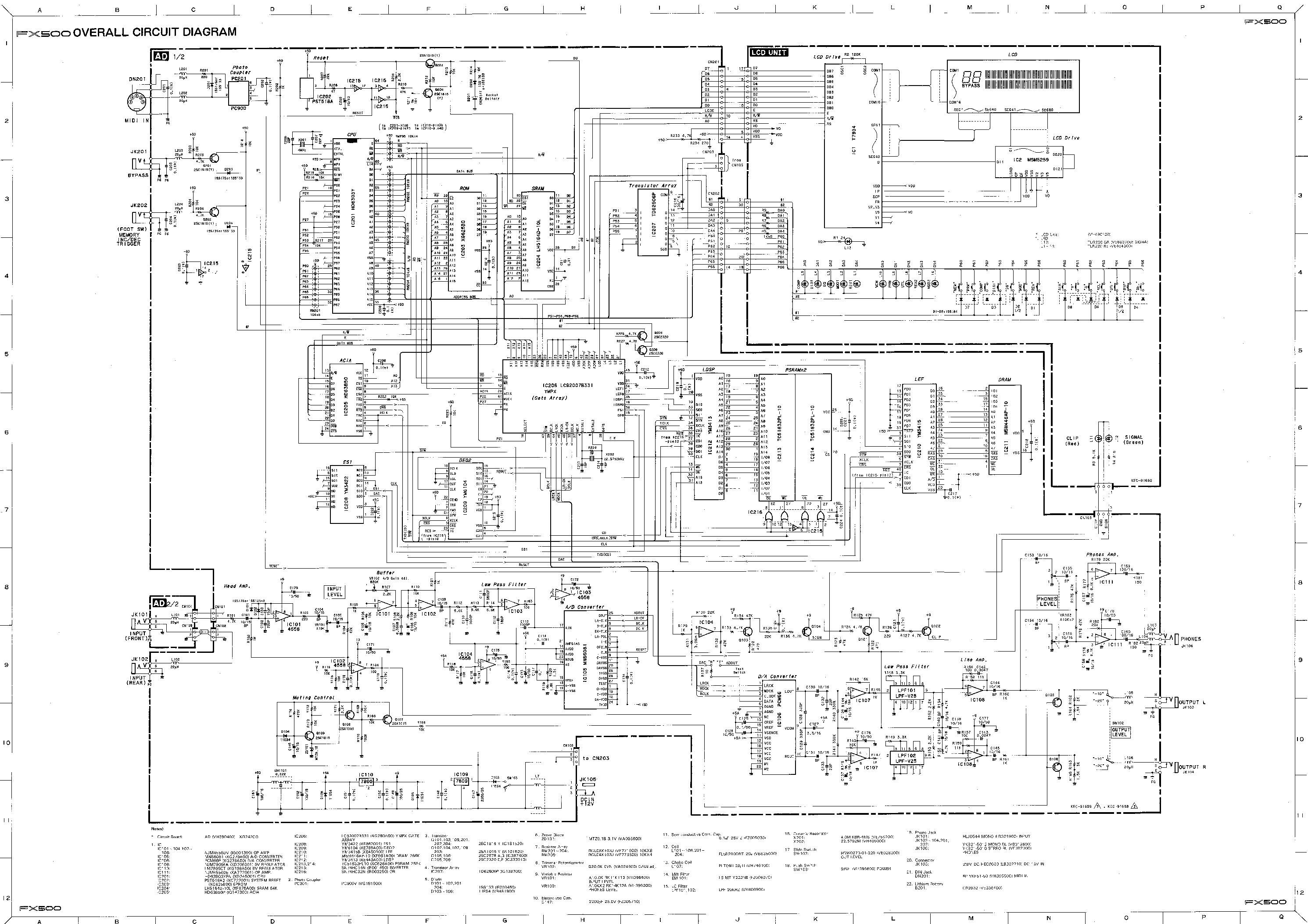 yamaha fx500 audio sch service manual download  schematics