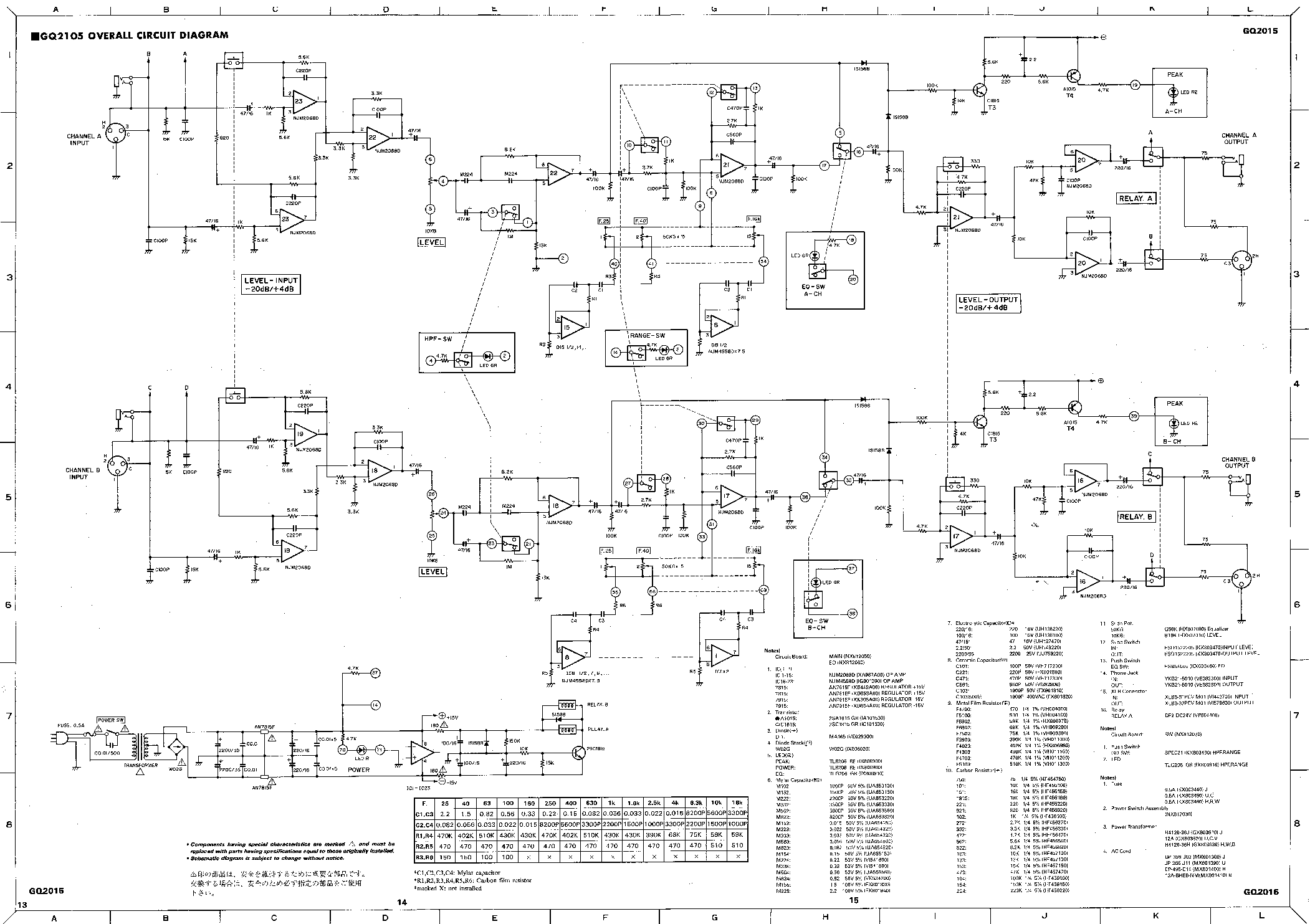 YAMAHA GQ2015 GRAPHIC EQUALIZER SCHEMATIC service manual (1st page)
