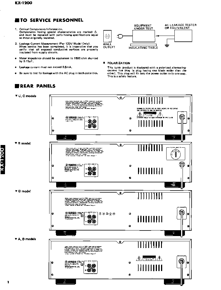 YAMAHA KX-1200 SERVICE service manual (2nd page)