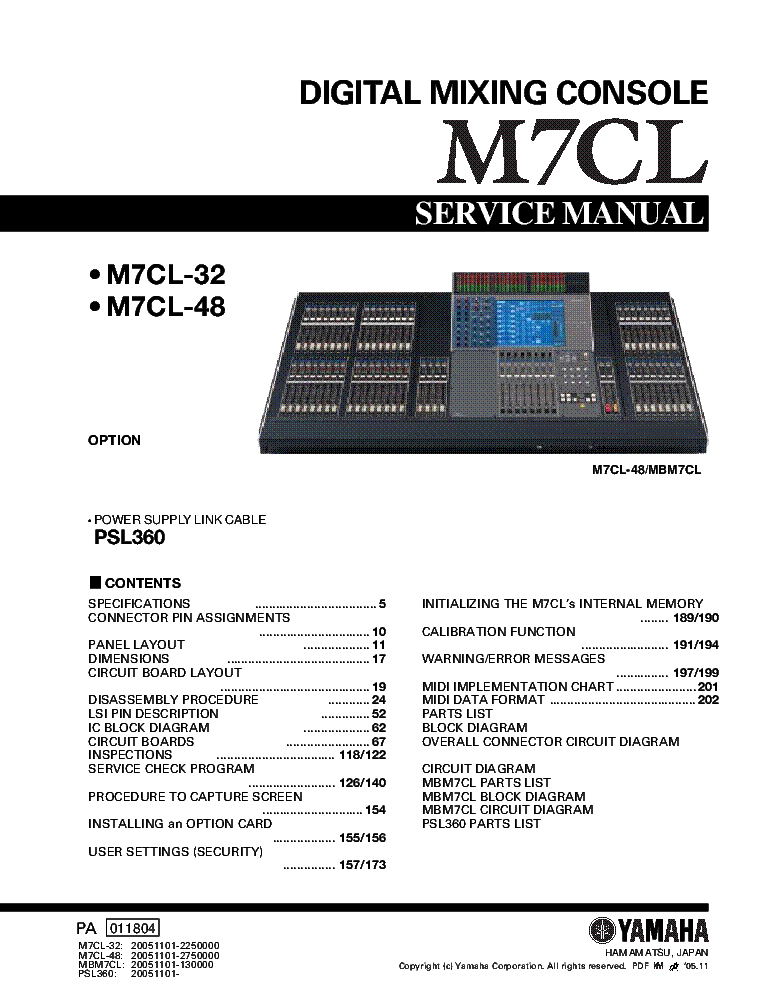 YAMAHA M7CL service manual