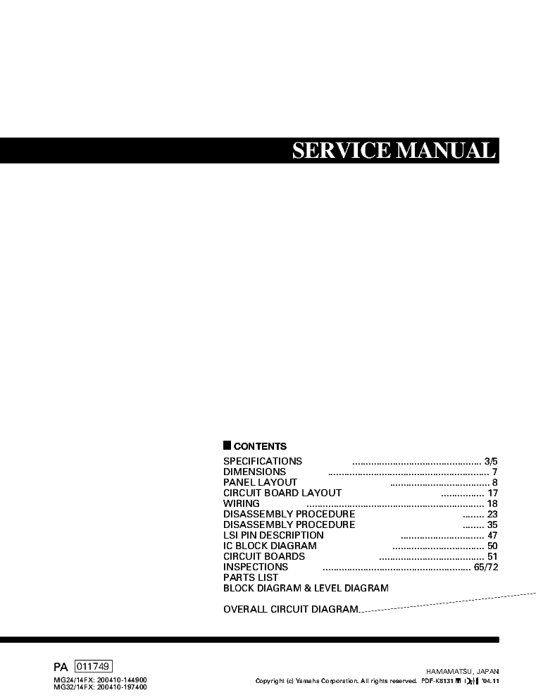 Yamaha mg32 14fx manual.