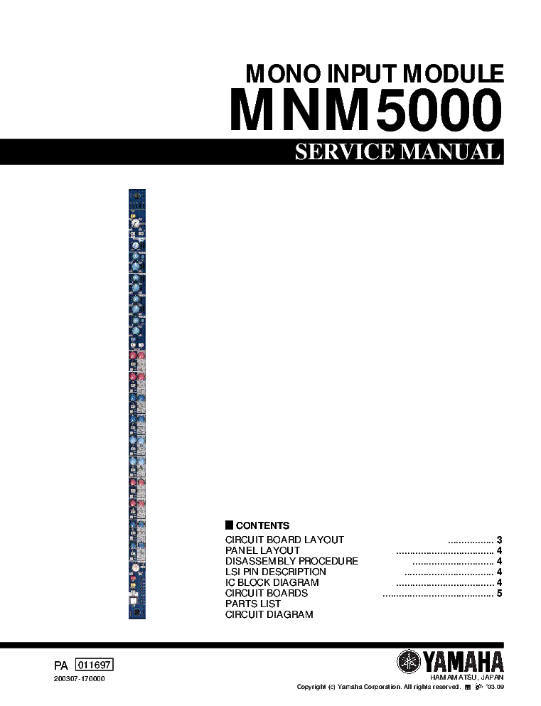 YAMAHA MNM5000 service manual