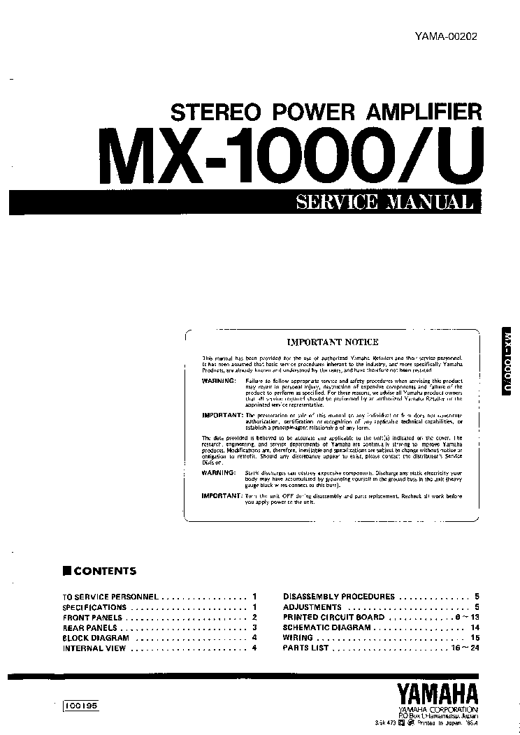 YAMAHA MX-1000 U FULL service manual (1st page)