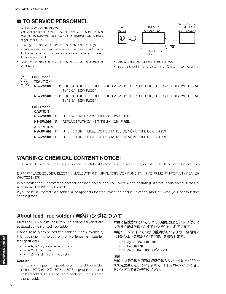 YAMAHA NS-SW300 NS-SW200 SM service manual (2nd page)