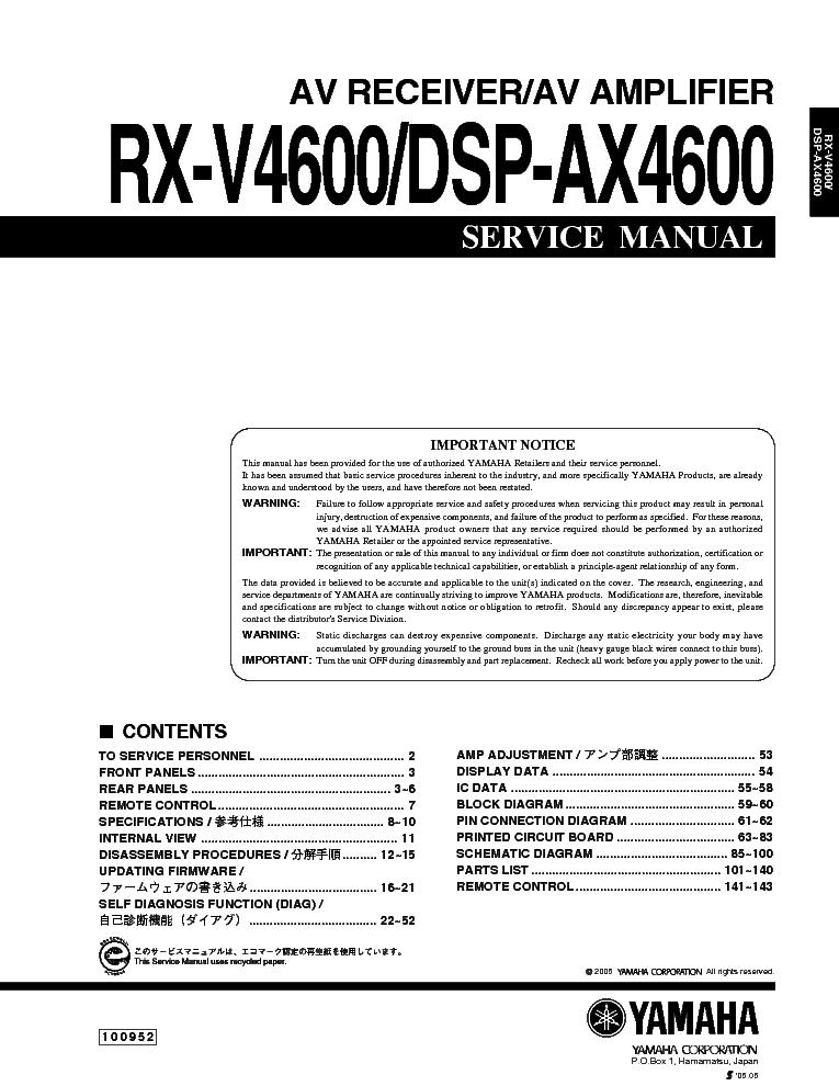 Yamaha rx-v4600 инструкция на русском