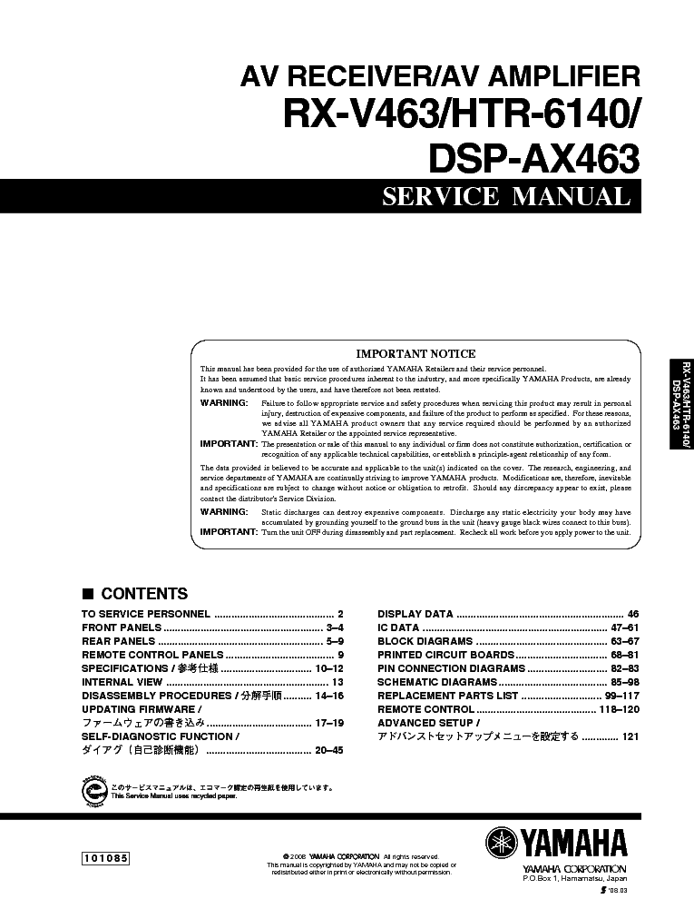 yamaha rx v463 service manual download schematics eeprom repair rh elektrotanya com yamaha rx-v463 manual pdf yamaha rx-v463 manual español