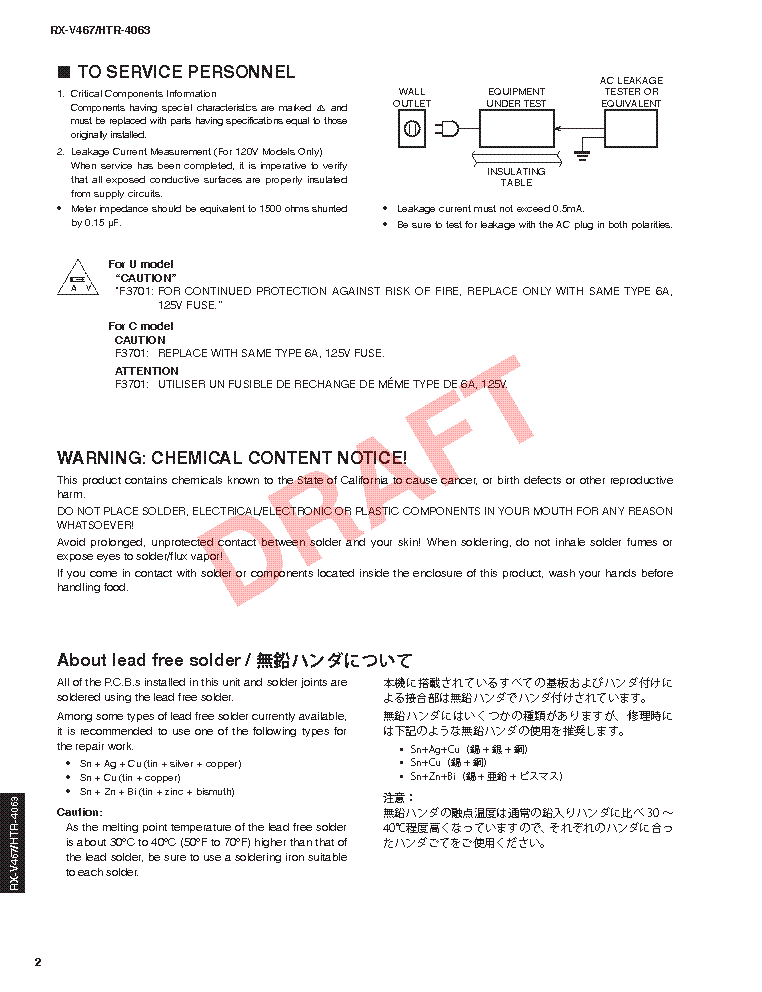 YAMAHA RX-V467 HTR-4063 SM service manual (2nd page)