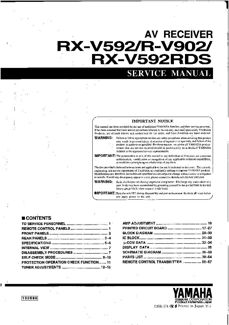 yamaha rx-v592 manual pdf