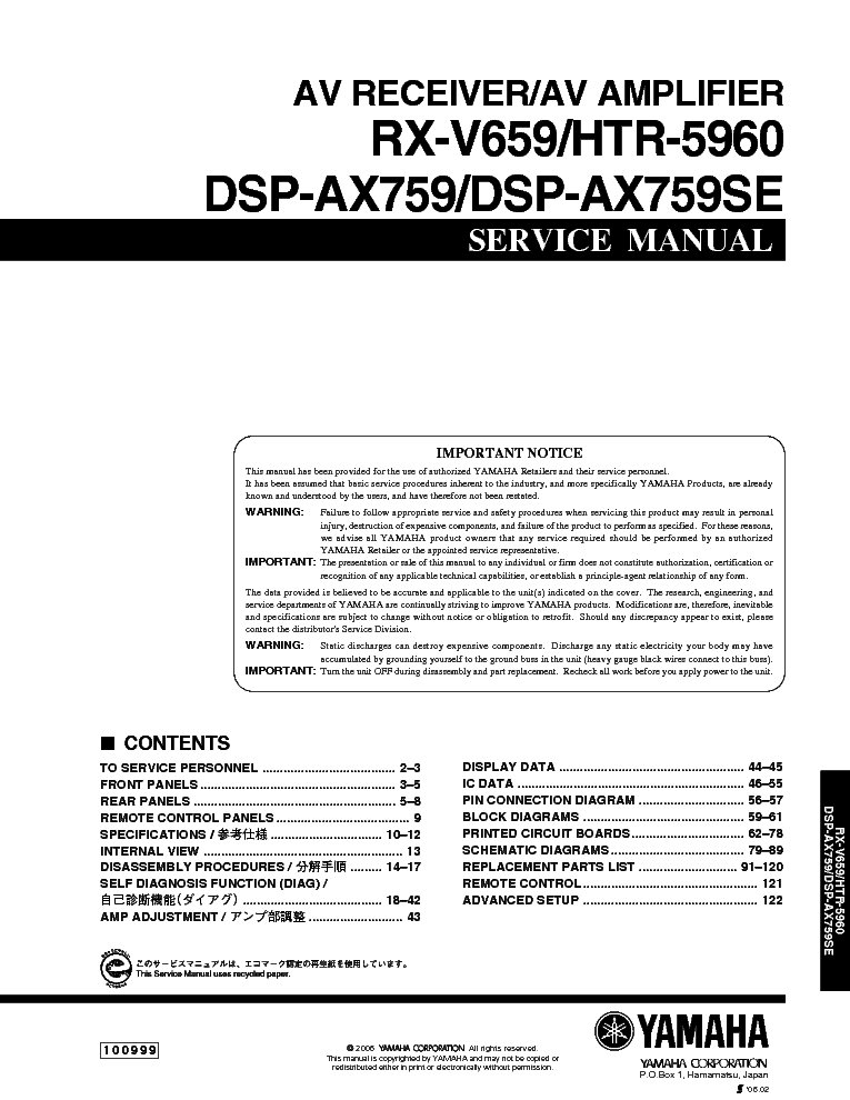 yamaha rx v659 service manual download schematics eeprom repair rh elektrotanya com yamaha rx-v659 manual en español yamaha rx v659 manual