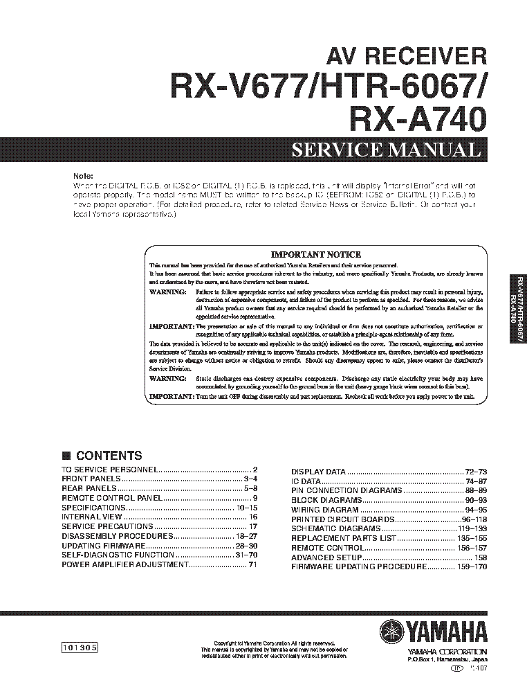 Ultimate yamaha audio & video repair service manual 1050 pdf.