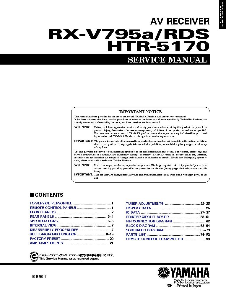 yamaha rx v367 service manual