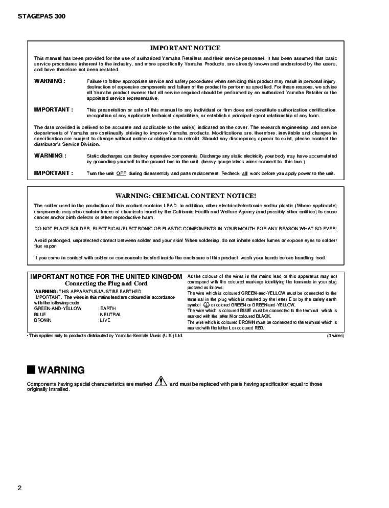 YAMAHA STAGEPAS 300 service manual (2nd page)