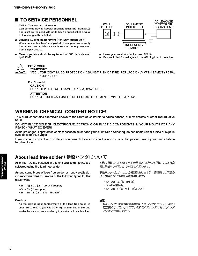 YAMAHA YSP4000 AV RECEIVER Service Manual download