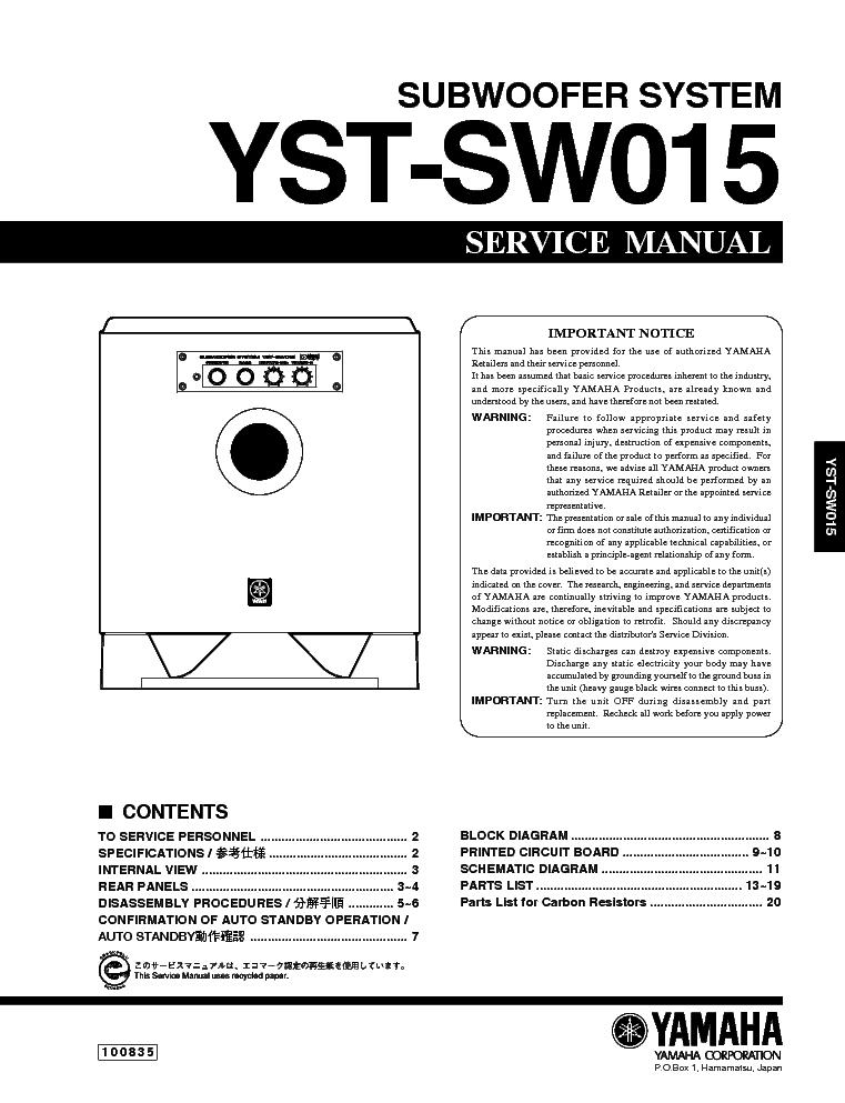 Adjusting the subwoofer before use, english | yamaha yst-sw015.