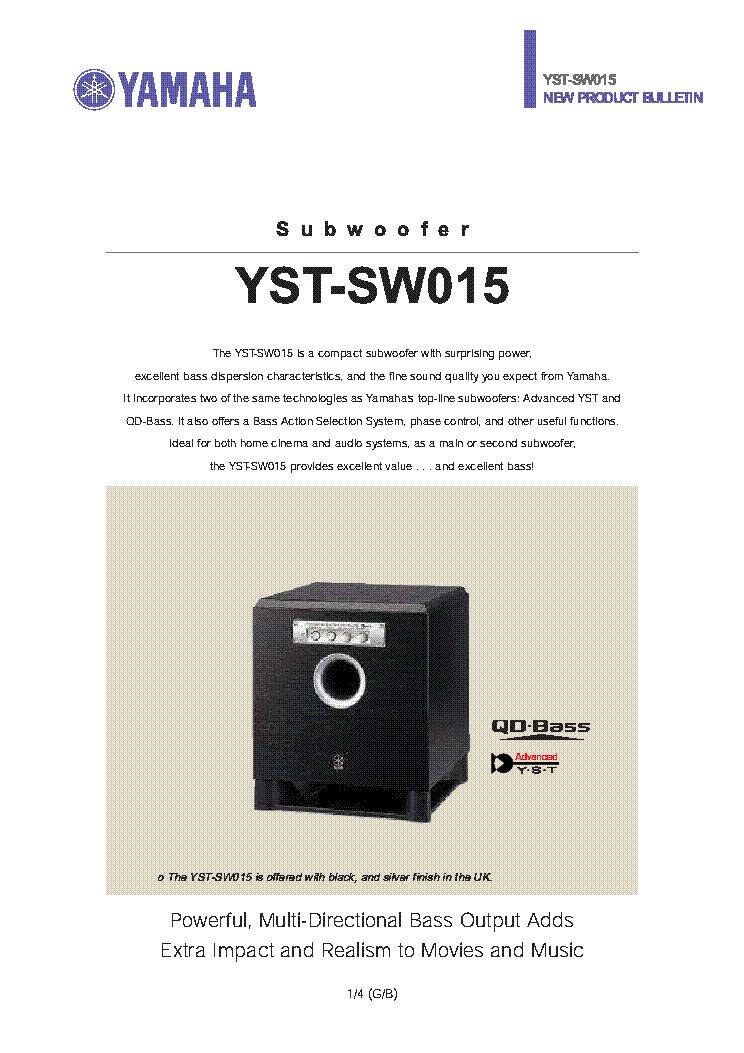 Yst-sw015 powered subwoofer yamaha.