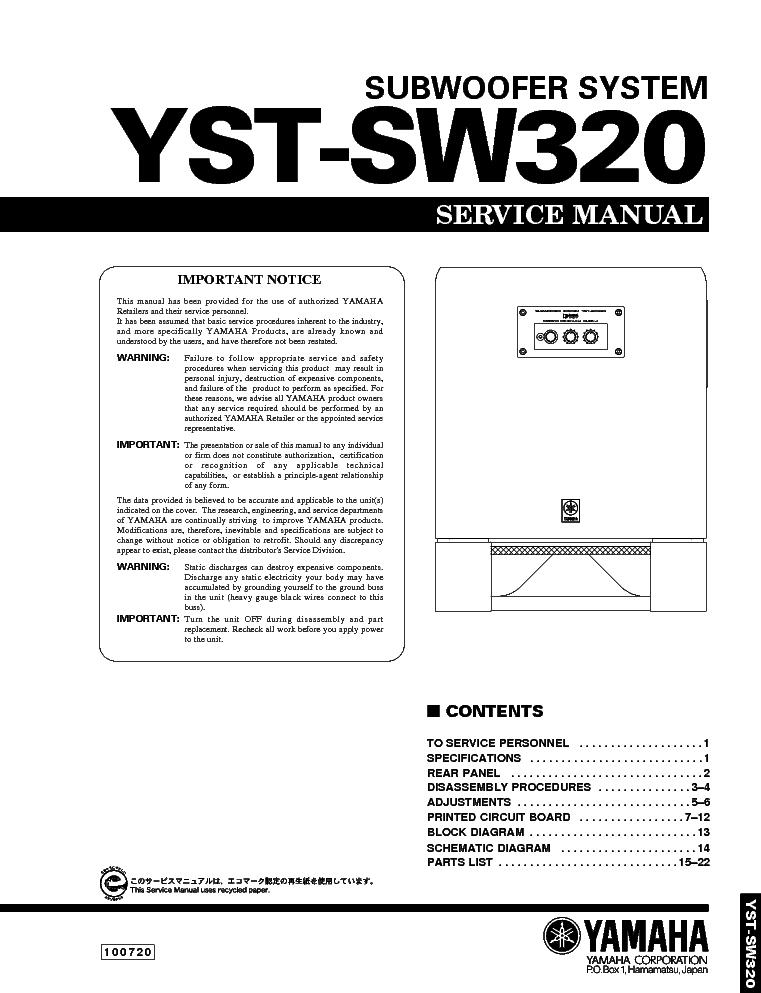 YAMAHA YST-SW320 SM service