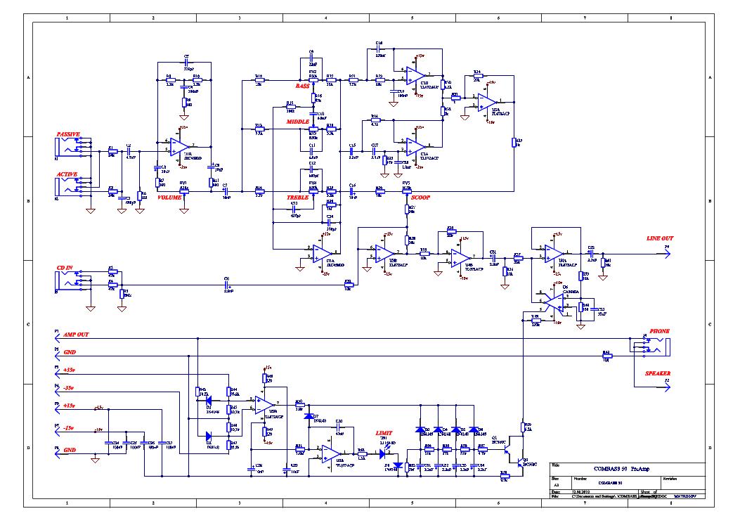 Yerasov Combass50 Bass Guitar Amplifier Schematic Service