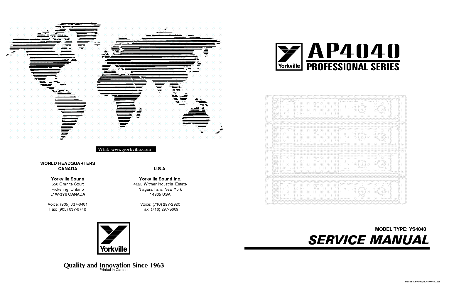 YORKVILLE AP4040 PARTS SCH Service Manual download, schematics