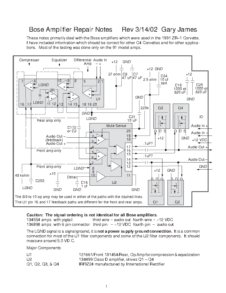 BOSE POWERED ACOUSTIMASS AM-25P AM-30P SERIES II TROUBLESHOOTING GUIDE  Service Manual download, schematics, eeprom, repair info for electronics  expertsElektrotanya