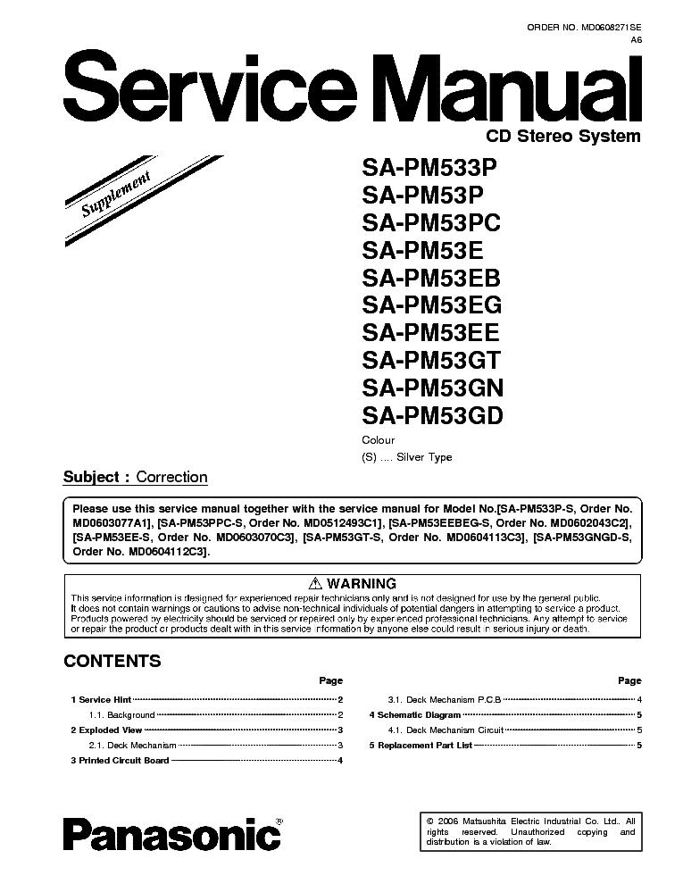 PANASONIC SA-PM53 PM533