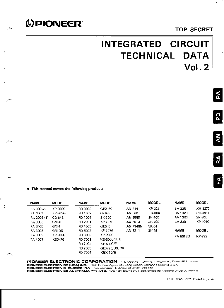 pioneer integrated circuit technical data vol2