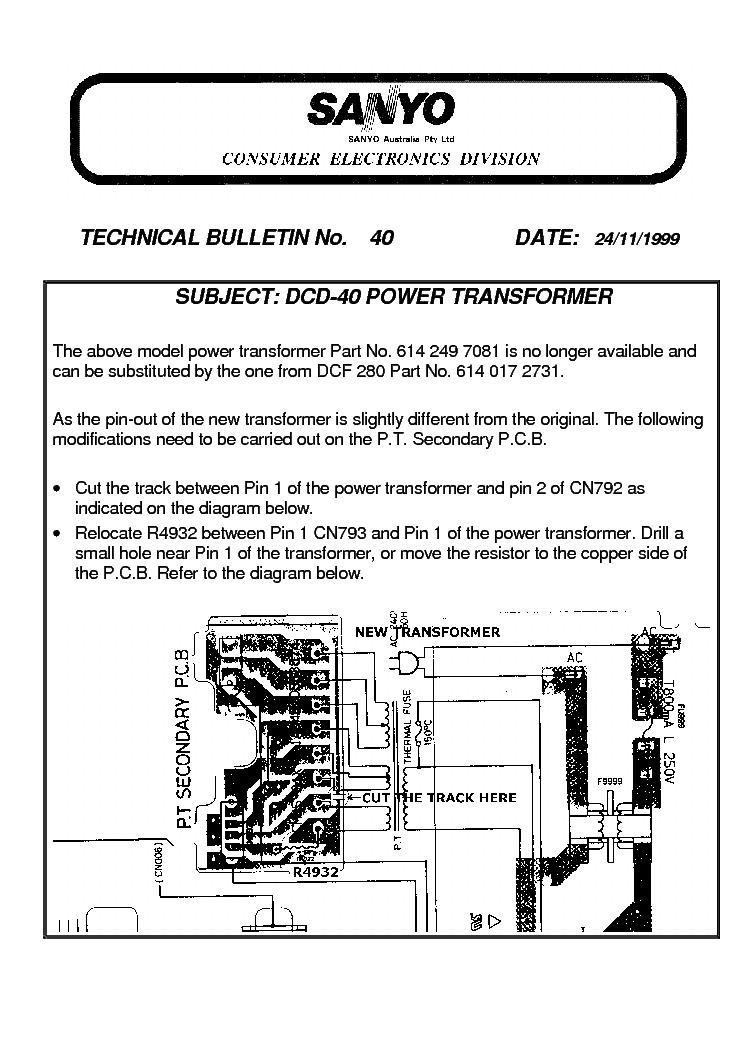 SANYO TB40 DCD40 POWER TRANSFORMER BULLETIN Service Manual