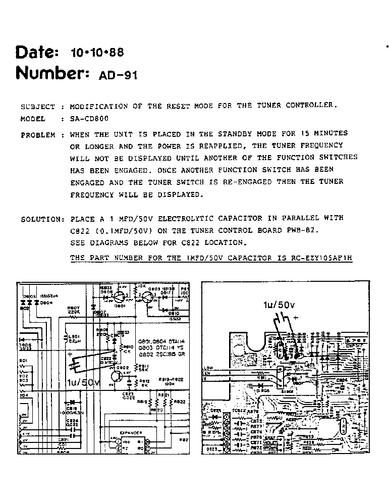SHARP AD-091 SA-CD800 TECH BULLETIN service manual