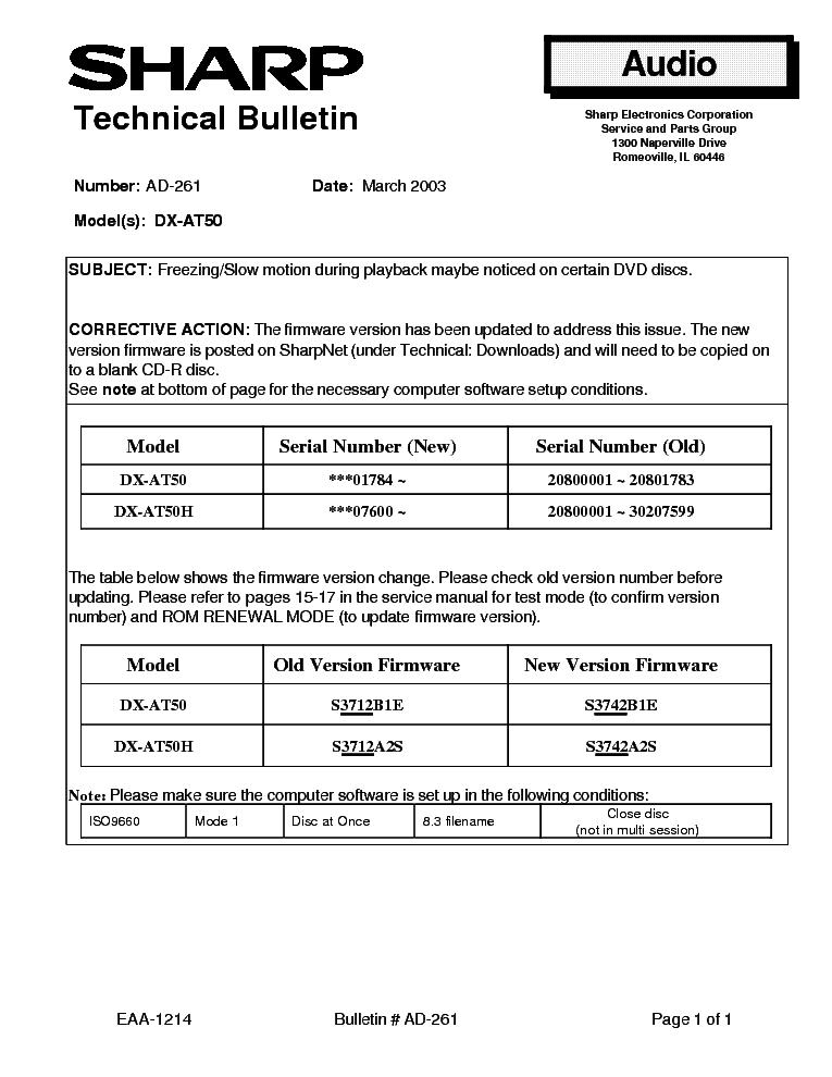 SHARP AD-261 DX-AT50 TECH BULLETIN Service Manual download