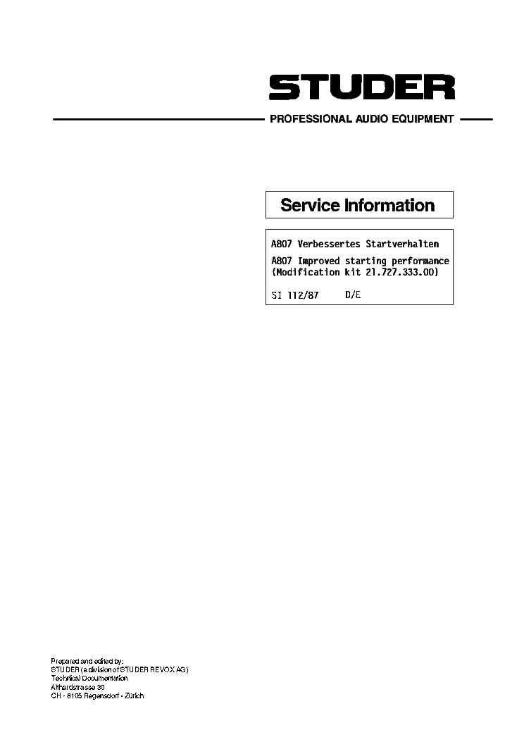 STUDER-REVOX A807 SERVICE INFO Service Manual download, schematics
