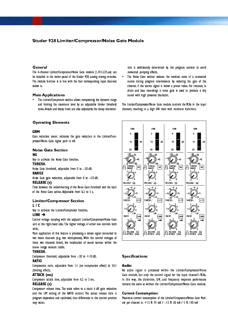 STUDER 928 4-CH DYN-UNIT INFO Service Manual download, schematics