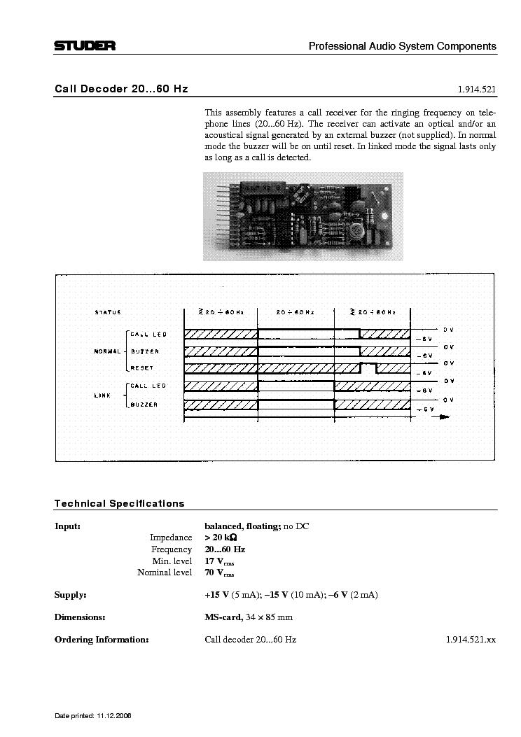 studer component 1 914 521 info service manual download schematics rh elektrotanya com Gateway MA6 Battery Airplane MA6 Joy Air