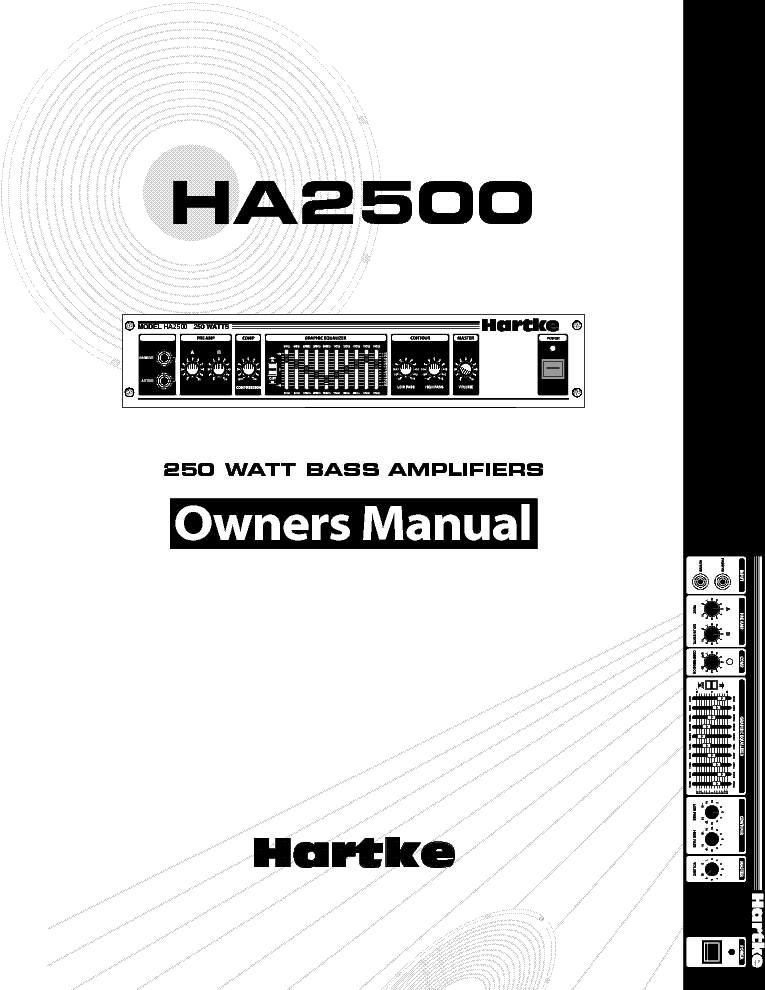 HARTKE HA2500 OWNERS service manual