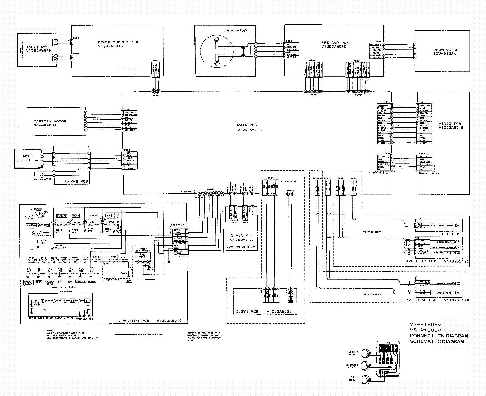 Схема видеомагнитофона Other DAEWOO VS-P150EM, VS-R150EM.