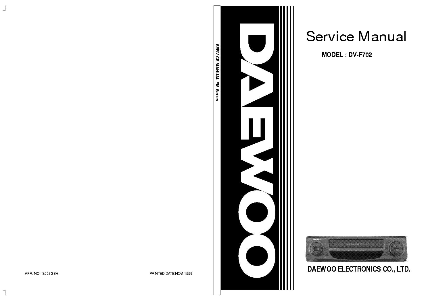 DAEWOO DV-F702 VCR SERVICE MANUAL Service Manual download ...