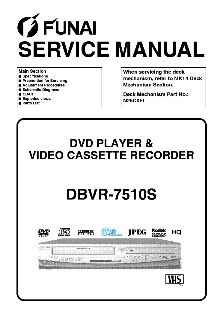FUNAI DBVR-7510S-E8GA5BD Service Manual download, schematics