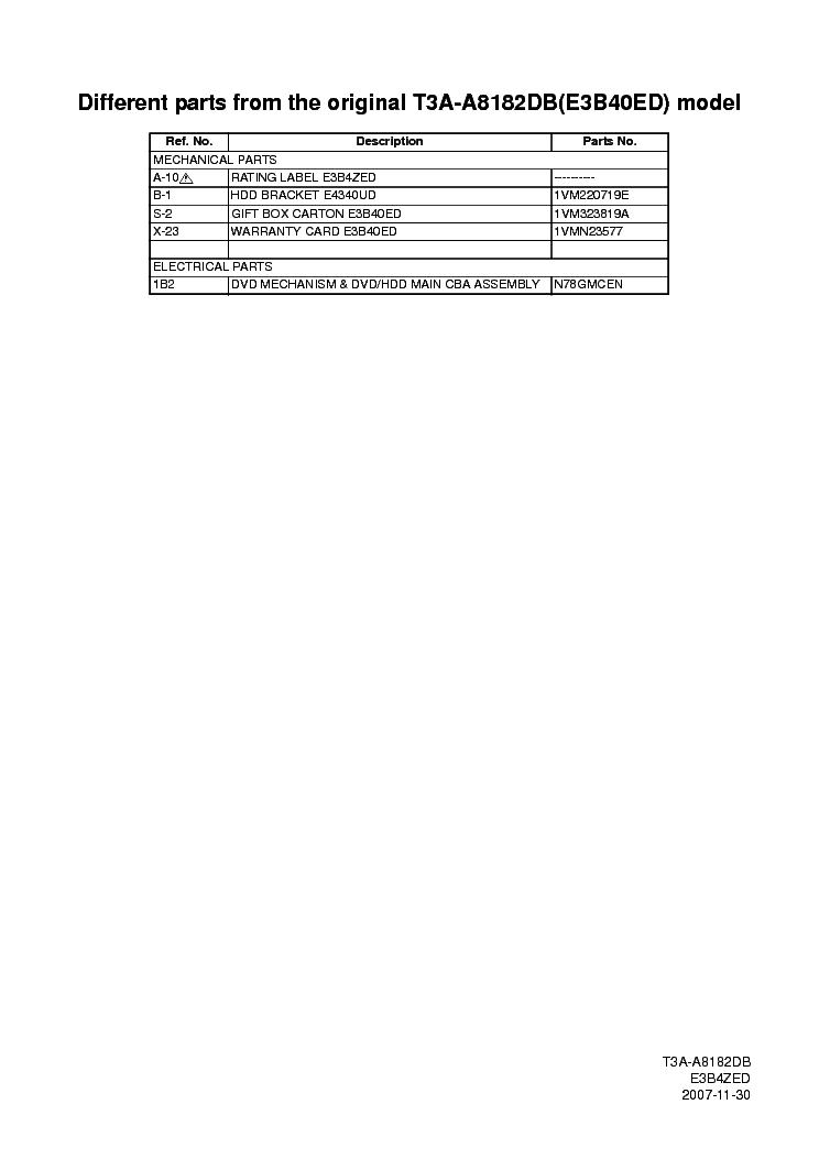 funai t3a a8182db service manual