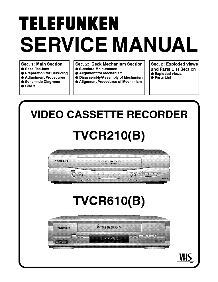 TELEFUNKEN FUNAI TVCR210 TVCR610 SM Service Manual download
