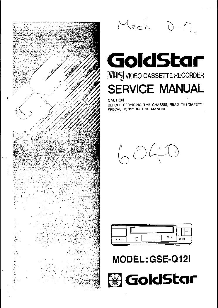 goldstar quisy 900 double deck vcr service manual download rh elektrotanya com goldstar video recorder manual goldstar vcr user manual