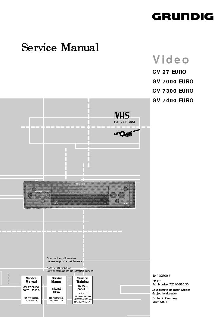 Схема видеокамеры Other GRUNDIG GV 27 EURO, GV 7000 EURO, GV 7300 EURO, GV 7400 EURO.