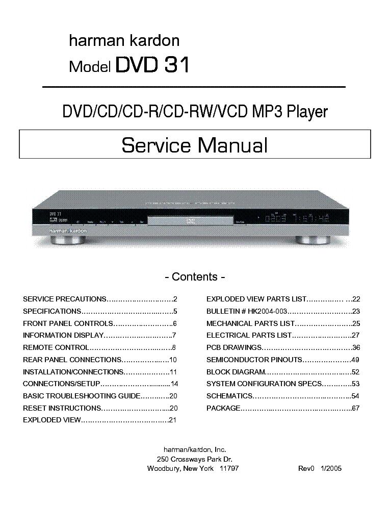 Harman kardon dvd 31 sm 2 service manual download schematics harman kardon dvd 31 sm 2 service manual 1st page ccuart Images