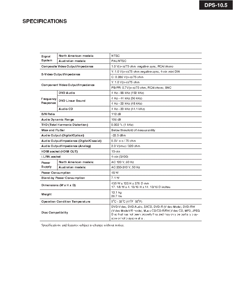 INTEGRA ONKYO SACD DPS-10 5 SM Service Manual download